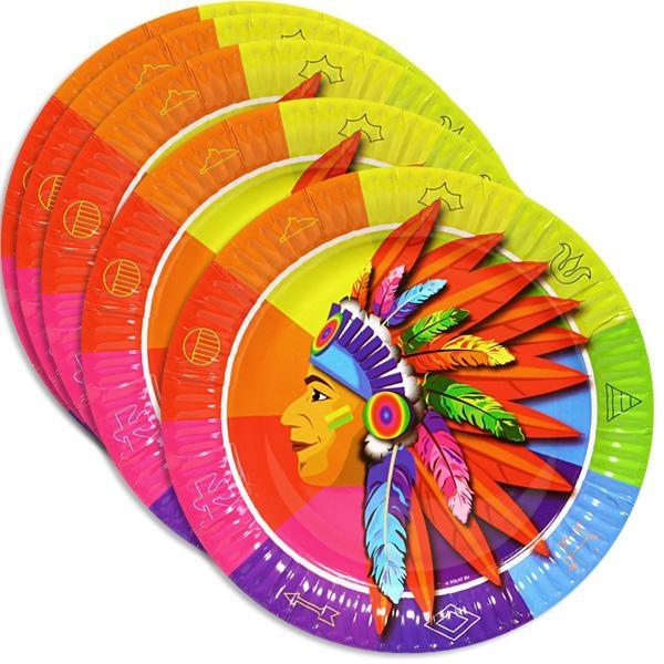 Indianer Partyteller 8 Stk., 23 cm, Pappteller mit Indianerhäuptling