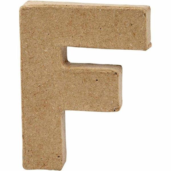 F Buchstabe, handgearbeitet aus Pappe, zum Bemalen/Bekleben, ca. 10 cm
