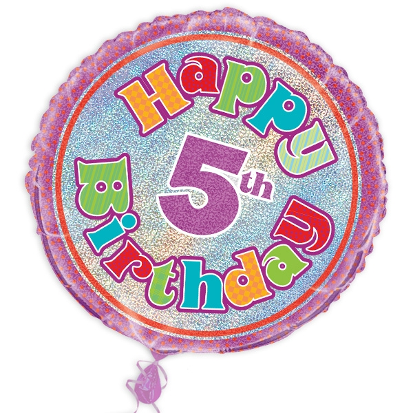 "Folienballon ""Happy 5th Birthday"", prismatisch, Ø 45cm"