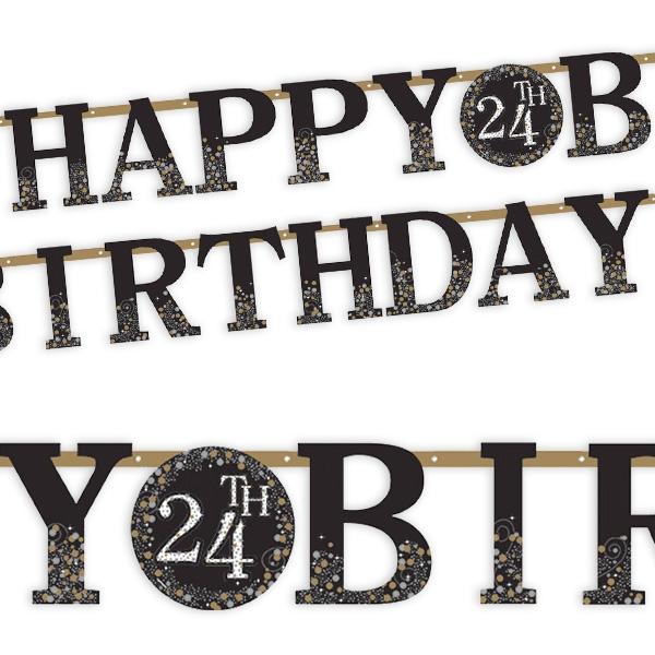"""""""Happy Birthday"""" Buchstabenkette, mit austauschbarer Jahreszahl  3,2m"""