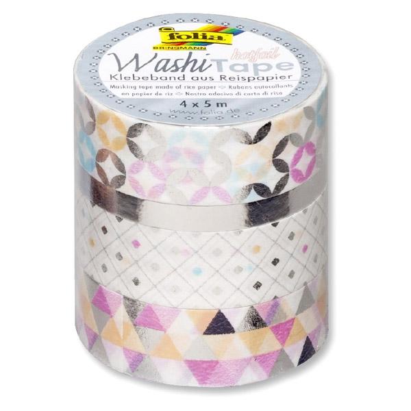Washi Tape - Hotfoil Silber, das beliebte Klebeband im 4er Pack