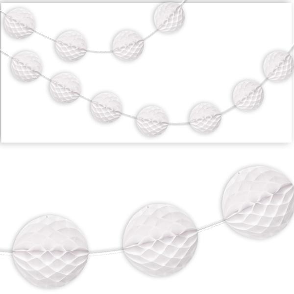 Wabenball Girlande, weiß, Papier, mit ca. 7cm großen Wabenbällen,  2,13m