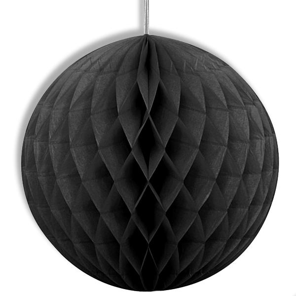 Schwarzer Wabenball mit Klebepads und Schnur zum Aufhängen 20 cm