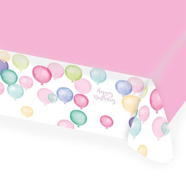 Ballon Party Tischdecke, Papier, 1,75m x 1,15m, Happy Birthday Druck