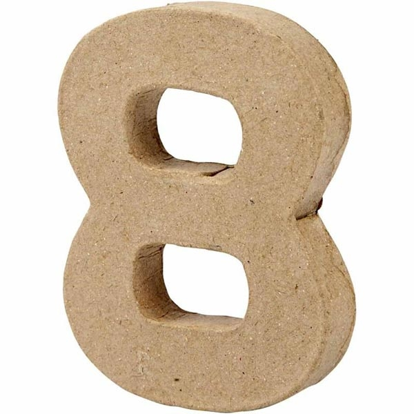 Zahl 8, handgearbeitet aus Pappe, zum Basteln, Bemalen, Verzieren