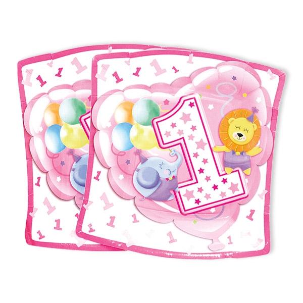 Kleine Partyteller, 1. Geburtstag Mädchen, 10 Stück, 19 cm