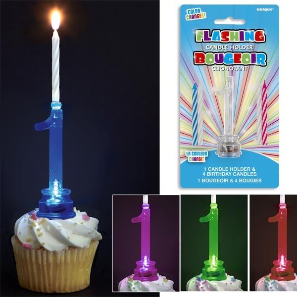 Geburtstagszahl 1 als Kerzenständer für Fooddeko + 4 Kerzen