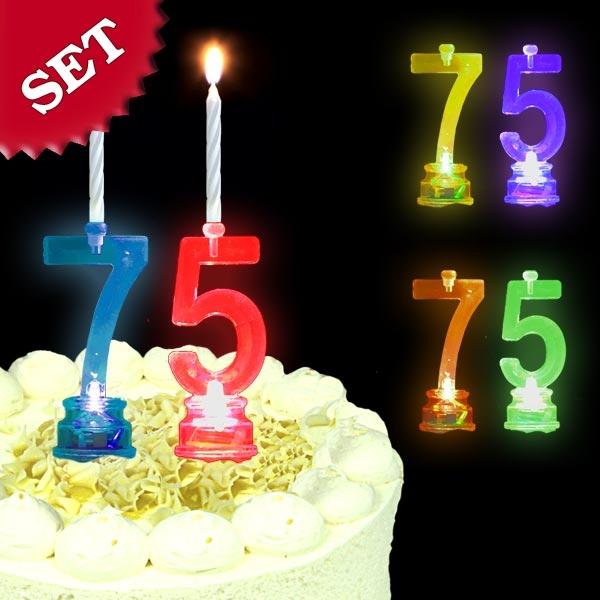 Blinkende Geburtstagszahl 75 als Kuchendeko für 75. Geburtstag