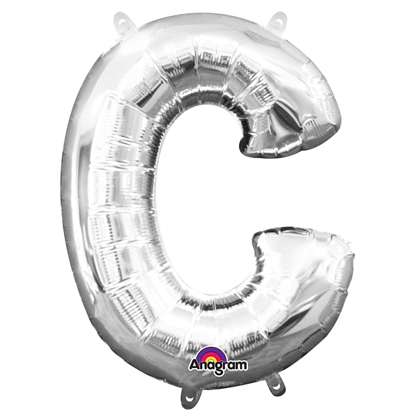 Mini Folienballon als Buchstabe C in silberner Farbe mit Ösen, 1 Stück