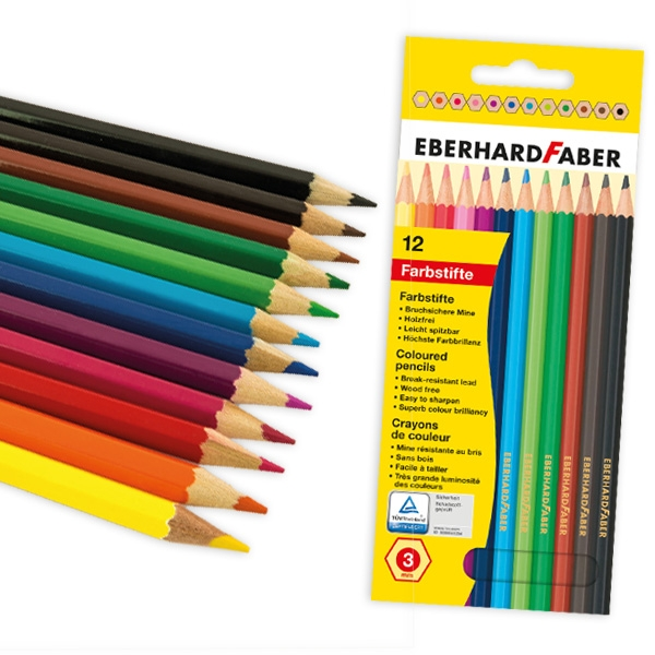 Buntstifte 12er Set, 17,5cm, Kinder-Holzbuntstifte als Malzubehör