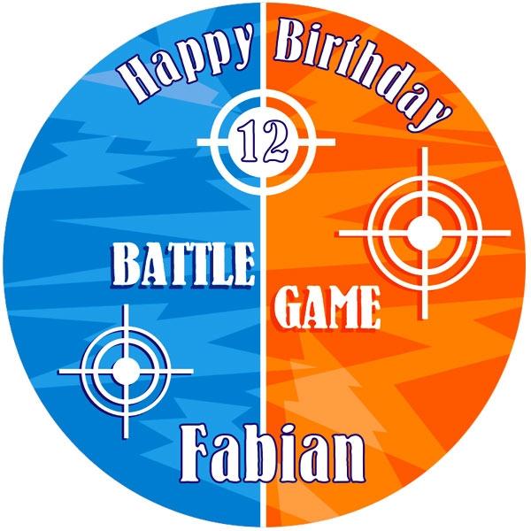 Battle Game Tortenaufleger mit Vorname und Alter – rund