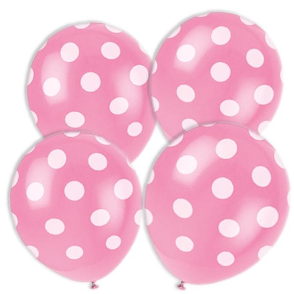 pinkfarbene Ballons mit weißen Punkten im 6er Pack aus Latex, 30 cm