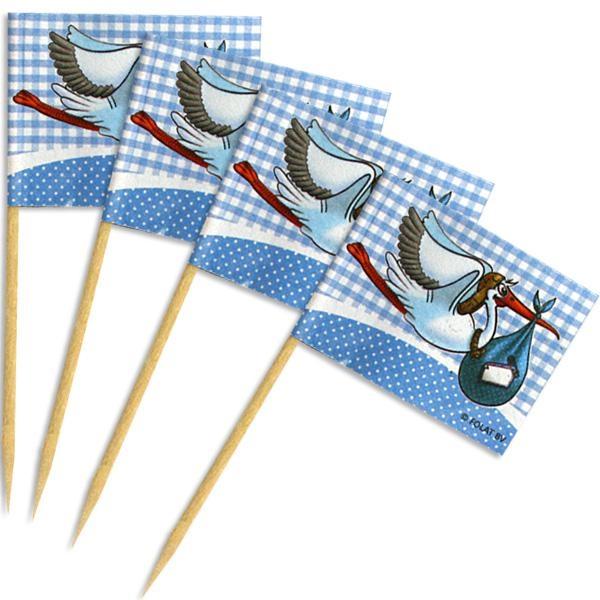 Deko-Fähnchen im 50er Pack, blau, mit witzigem Klapperstorch-Motiv