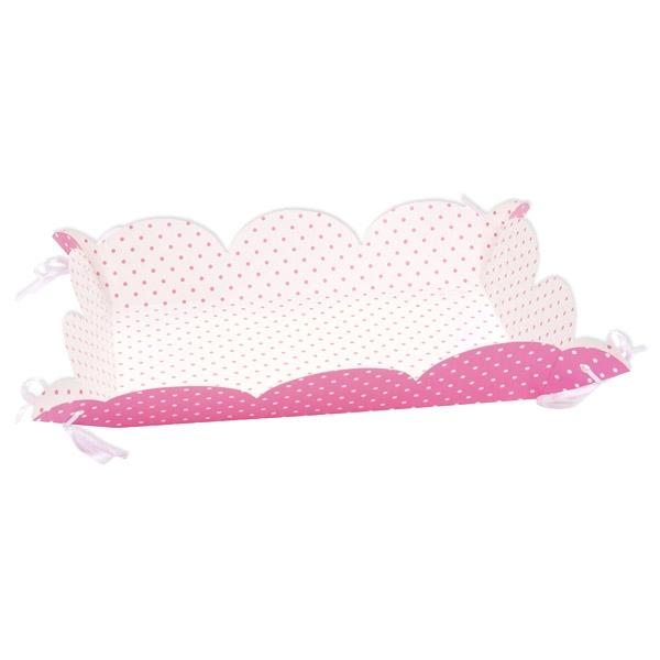 Servierplatten, 4 Stück, rosa, weiss gepunktet 15 cm x 23 cm