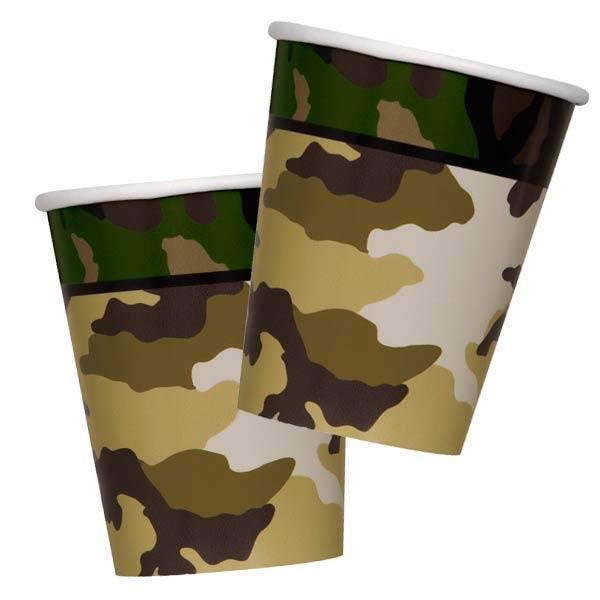 Pappbecher, Camouflage, ca. 270ml, 8er Pack, Trinkbecher Tarnfarbenparty