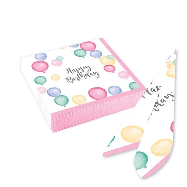 Ballon Party Kleine Servietten, 20 Stk, 25cm, Pastellfarben