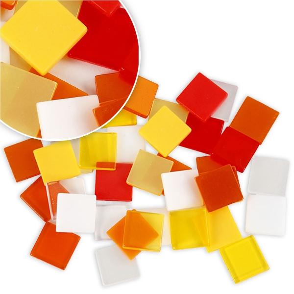 Mosaiksteine in Rot-Orange, 25g, ca. 100 Mosaiksteinchen zum Basteln