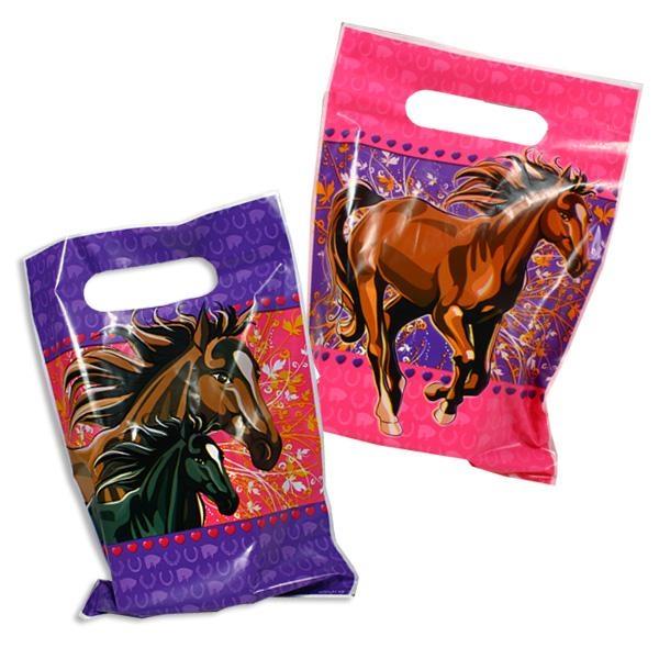 Pferde-Mitgebseltüten im 8er Pack mit rassigem Pferdemotiv, aus Folie