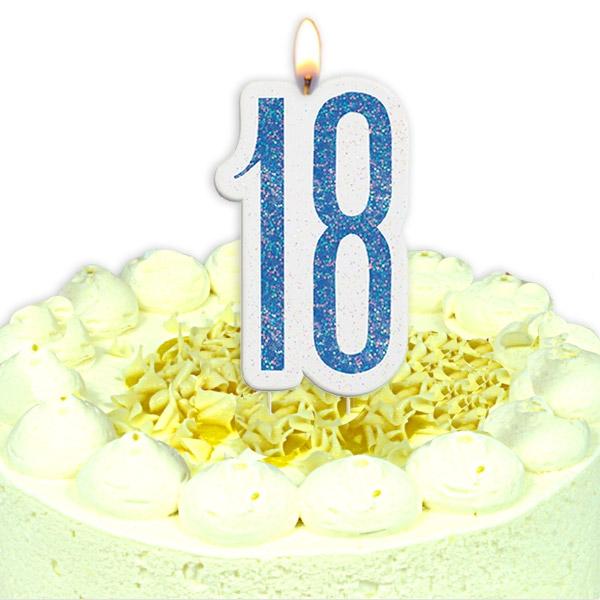 Geburtstagskerze Zahl 18, in schimmerndem Blau