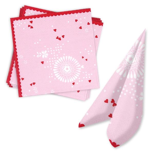 Prinzessin Servietten in Rosa mit kleinen roten Herzen, 20 Stück