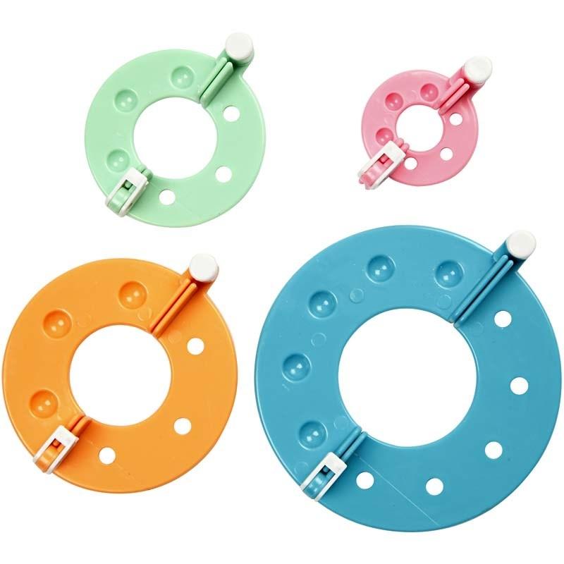 Pom Pom Set, 4 Doppel-Ringe in vier versch. Durchmessern