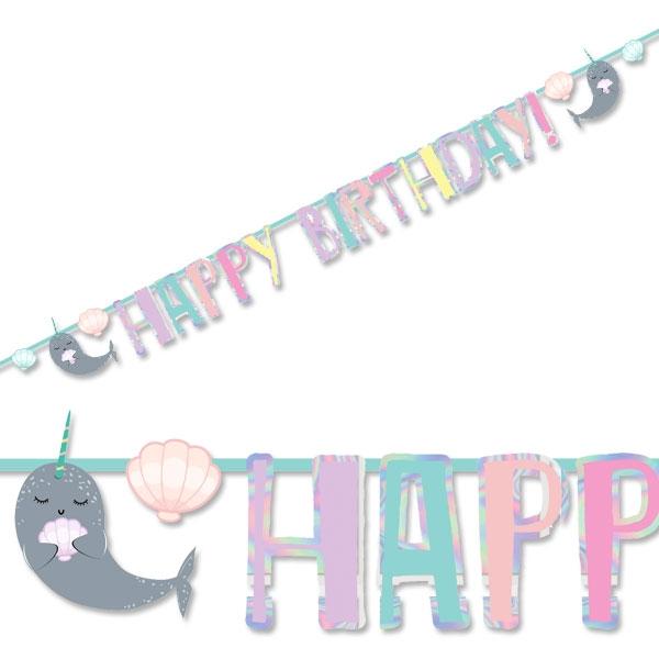 Narwal Buchstabenkette Happy Birthday, 2,4m x 14cm