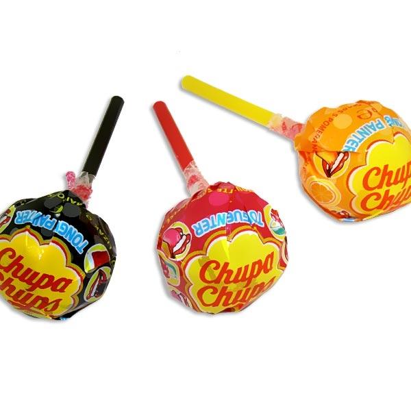 1 x Chupa Chups Lutscher, Cola, Orange oder Kirsch, malt die Zunge an