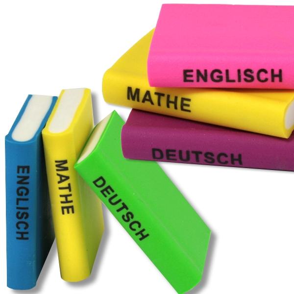 Schulbuch-Radierer im 3er Pack, Mathe, Deutsch, Englisch, versch. Farben