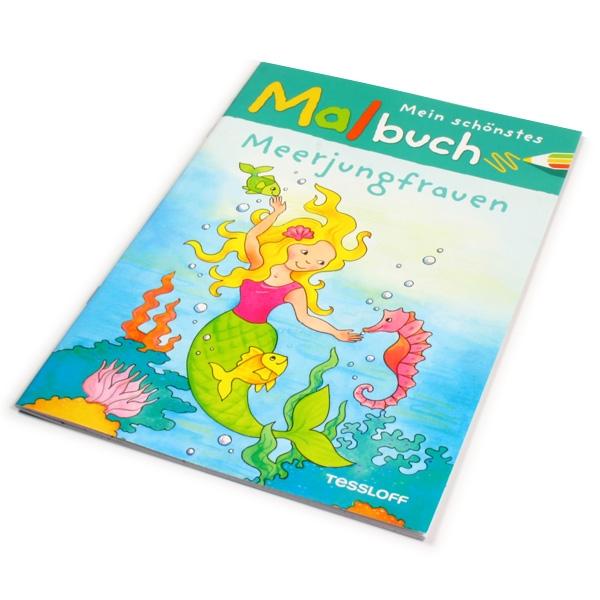 Malbuch-Meerjungfrauen für kleine Mädchen, alles rund um das Thema Nixen in der Unterwasserwelt, zum großflächigem Ausmalen