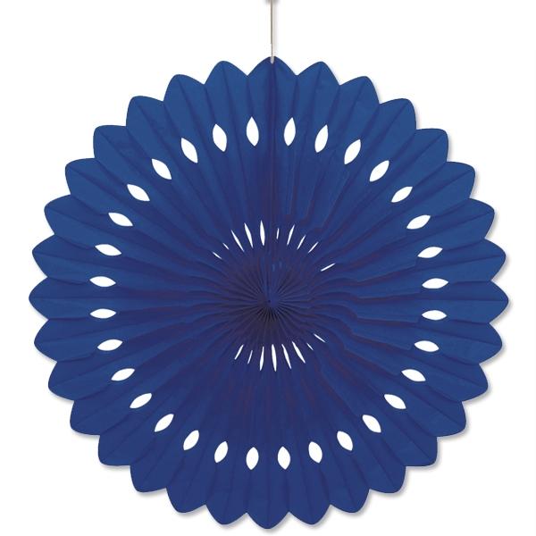 Fächerblume blau +Klebepad, 1 Stück, dekorativer Fächer aus Papier, 40cm