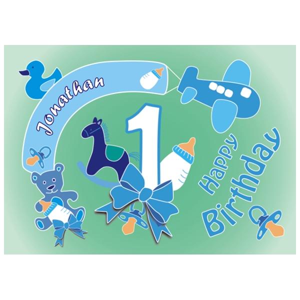 Tortenauflage 1. Geburtstag Jungen +Name+Alter,eckig, EA5