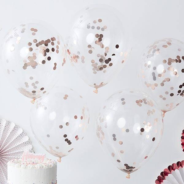 Konfetti-Ballons in rosegold, 5 Stück