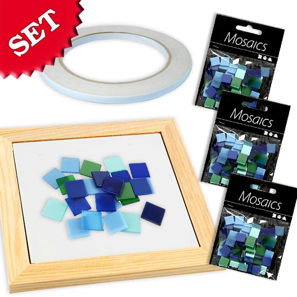 Mosaik Bastelset Blau-Mix, blaue Mosaiksteine zum Basteln im Set