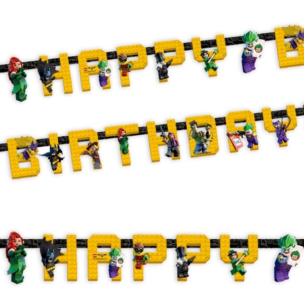 Lego Batman Buchstabenkette, 1,68m, Happy-Birthday-Kette, Pappe