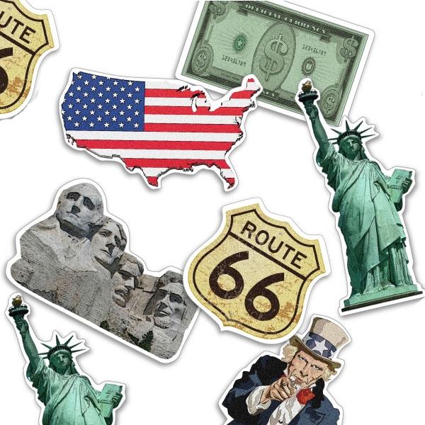 USA Konfetti, 24 Teile, 5-9cm, Pappe, ideal für Länderparty Tischdeko