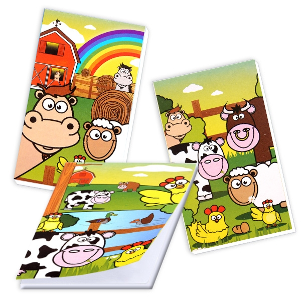 Farmtiere Notizblock, Mitgebsel für Bauernhof Kindergeburtstag, 1 Stück