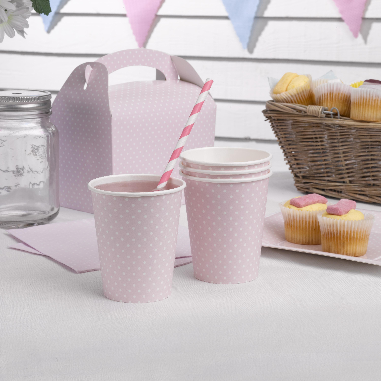 Partybecher in blassem rosa mit weißen Punkten, 8 Stück