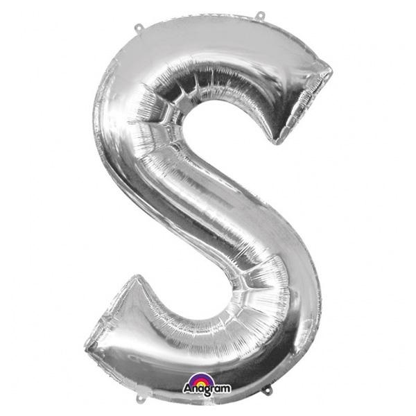 "Folienballon Buchstabe ""S"" - Silber mit 4 Ösen zum Befestigen, 88 cm"