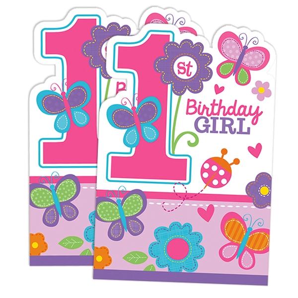 Sweet Birthday Einladungen 8er Pack für den 1. Geburtstag eines Mädchens