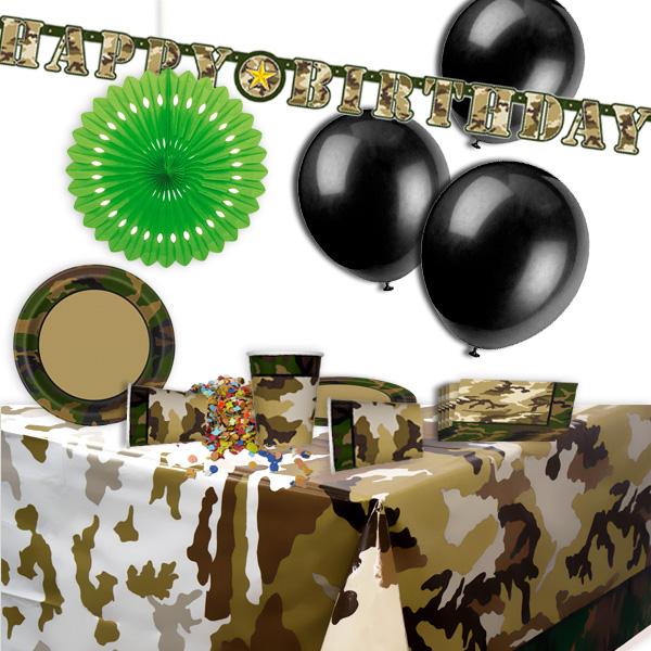 Camouflage Mottoset, 8 Kids, 46tlg., Dekoration für Tarnfarben-Party