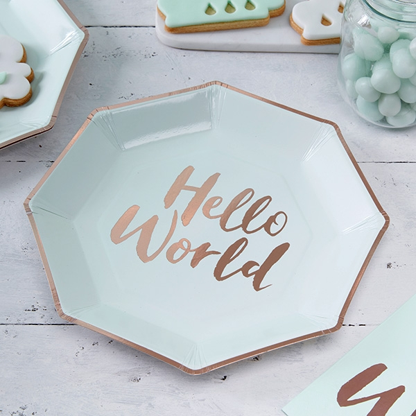 """Hello World"" Partyteller, 8 Stück, Pappe"