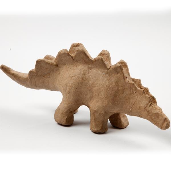 Stegosaurus Figur Pappmaschee 22cm, Dinofigur als Rohling, 22cm
