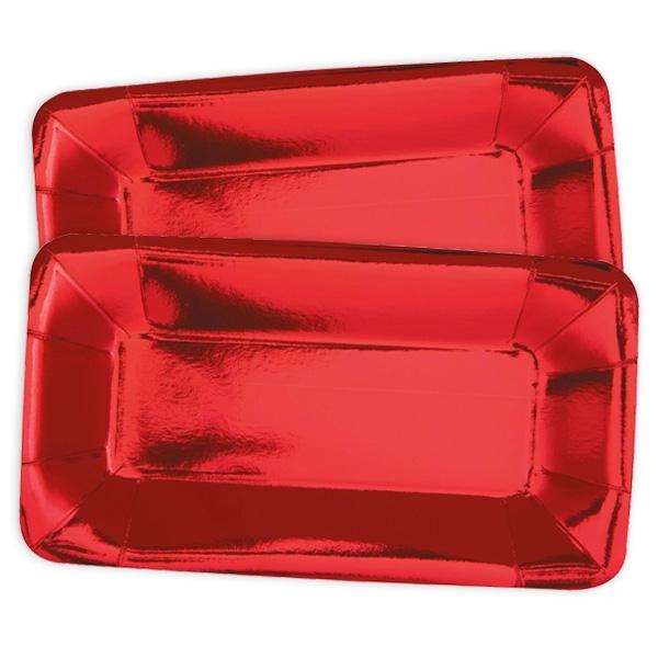 Servierteller, metallic rot, 8er Pack