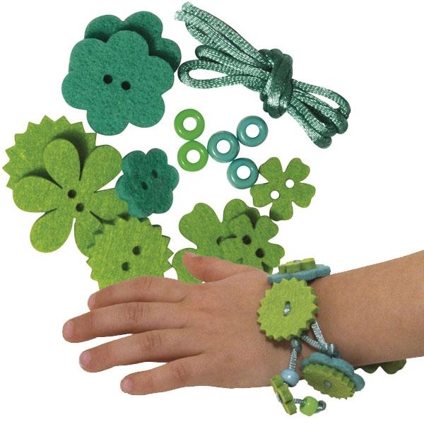 Bastelset-Filzblüten-Armband, Hannah, 15 tlg. Grüntöne +Filz +Perlen