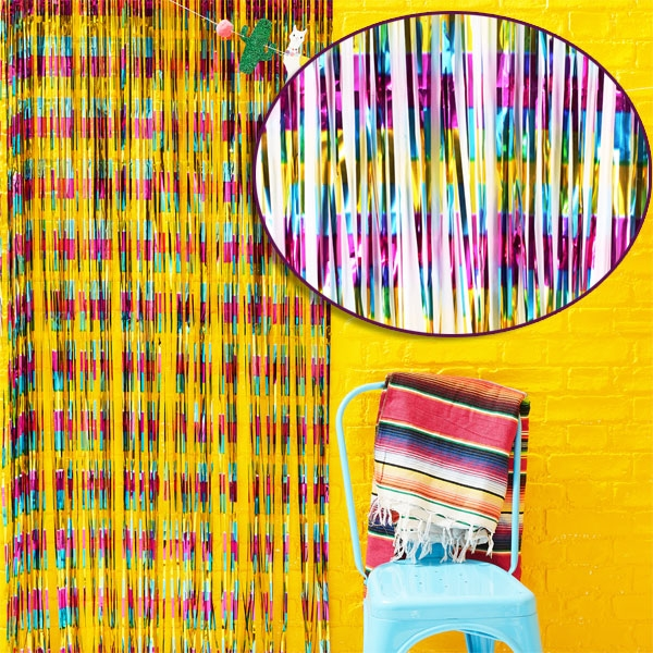 """Viva Mexico"" Party Vorhang, Fiesta, bunt metallic, 90cm x 2,4m"