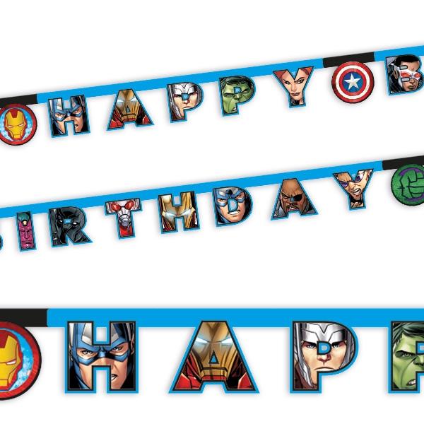 Partykette Avengers, Happy Birthday Buchstabenkette aus Pappe, 2m