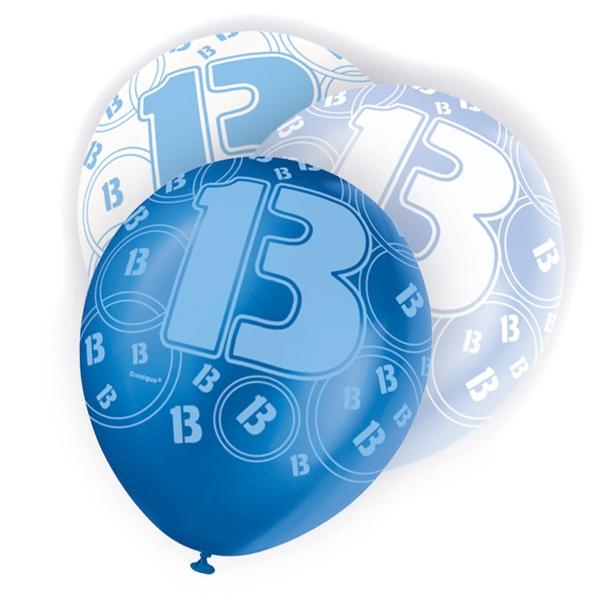 Latexballons mit Zahl 13, verschied. Blautöne, 30cm
