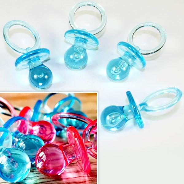 Streudeko Schnuller, Baby Shower Partydeko Jungs hellblau, 4 Stück