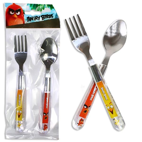 Angry Birds Besteck 2er Pack, Kinderbesteck mit Löffel und Gabel