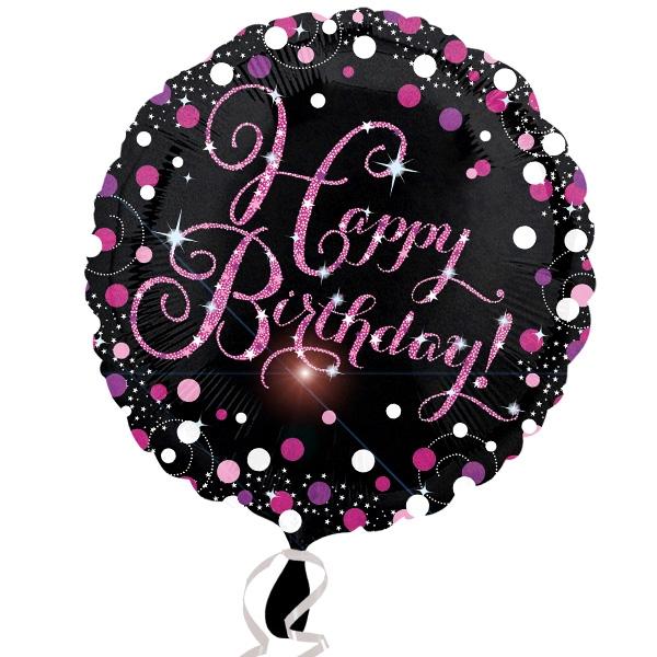Happy Birthday Glitzerballon, Folie, 1 Stk, Ø 35cm